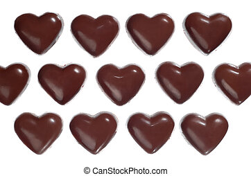 Heart-shaped dark chocolate candies