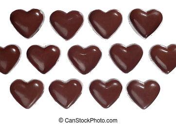 Heart-shaped dark chocolate candies