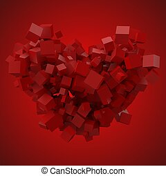 heart shaped data block. made with random size cubes. 3d...