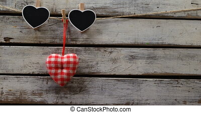 Heart shaped decoration pinned on a rope 4k - Heart shaped ...
