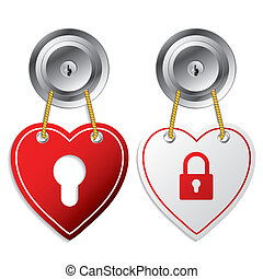 Heart shaped door labels in red and white colors