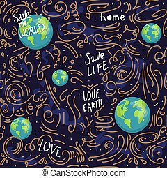 heart shaped earth. Cartoon globe. web icons green happy nature character. love ecology earth planet world map seamless pattern vector illustration. save the planet. motivation inscription