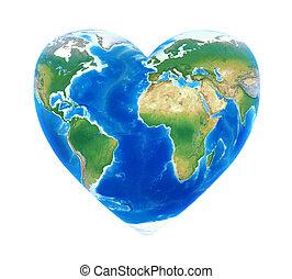 Heart Shaped Earth Isolated