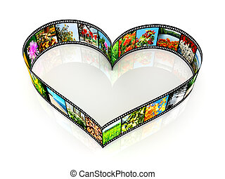 Heart shaped filmstrip - isolated on white backgrounds
