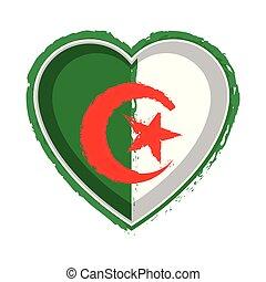 Heart shaped flag of Algeria