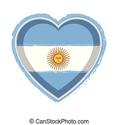 Heart shaped flag of Argentina