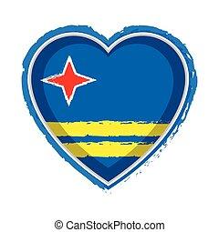 Heart shaped flag of Aruba