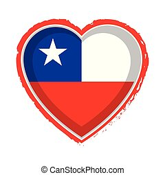 Heart shaped flag of Chile