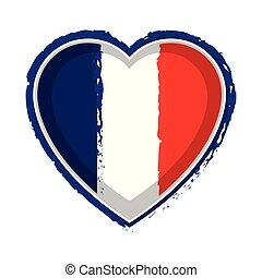 Heart shaped flag of France