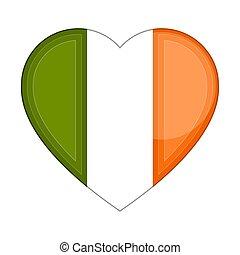 Heart shaped flag of Ireland