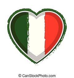Heart shaped flag of Italy