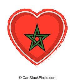 Heart shaped flag of Morocco