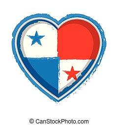 Heart shaped flag of Panama