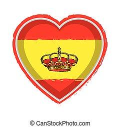 Heart shaped flag of Spain