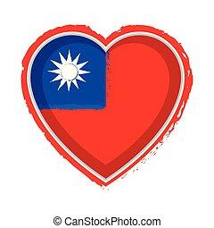 Heart shaped flag of Taiwan