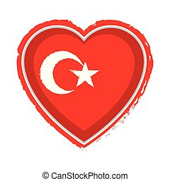 Heart shaped flag of Turkey
