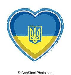Heart shaped flag of Ukraine