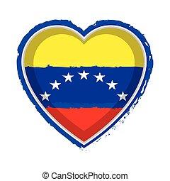 Heart shaped flag of Venezuela