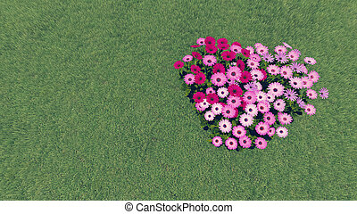 Realistic 3D illustration of the beautiful heart-shaped flower-garden growing on the grassplot.
