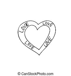 heart shaped frame icon element. hand drawn doodle liner simple style