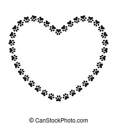 Heart shaped frame made of animal's (dog's) paw prints.