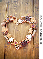 Heart-shaped frame made of cookies