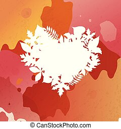 Heart shaped frame of autumn leaves