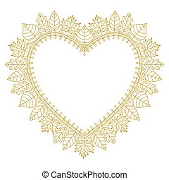 Heart shaped frame of gold autumn leaves from simple lines. Vector wreath in doodle style.