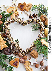 Heart-shaped frame with christmas d