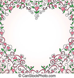 Heart-shaped frame with space for your text. Floral ornament with hearts. Template for valentine's day card, wedding invitation.