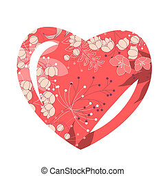 Heart-shaped frame with stylized pink flowers