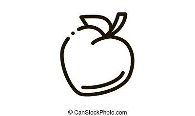heart shaped fruit Icon Animation. black heart shaped fruit animated icon on white background