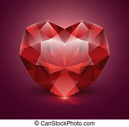 Heart shaped gem stone - Heart-shaped gemstone vector...