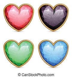 Heart shaped gems.