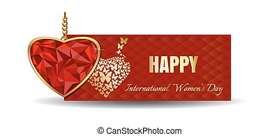 Heart shaped gemstone set in gold. Banner for Womens Day