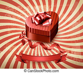Heart-shaped gift box on retro background. Vector.