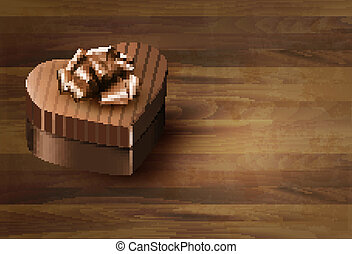 Heart-shaped gift box on wooden background. Vector.