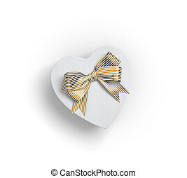 Heart shaped gift box with bow on white