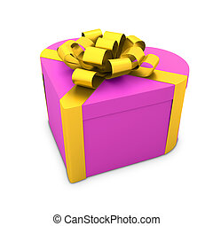heart shaped gift box with ribbon