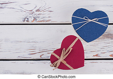 Heart shaped gift boxes with copy space.