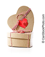 Heart shaped gift boxes with heart tags