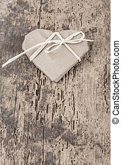 heart shaped gift on wooden background