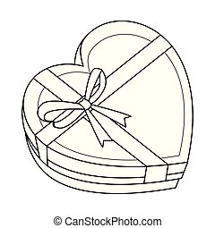 Heart shaped giftbox in black and white