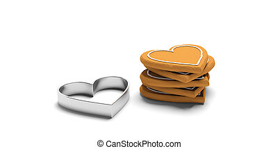 Heart shaped gingerbread and cutter, isolated, white background