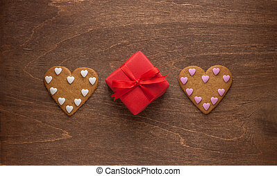 heart shaped gingerbread cookies and gift