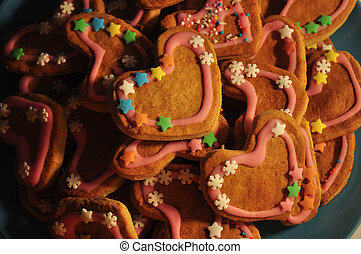 Heart shaped Gingerbread Cookies, decorated with glaze