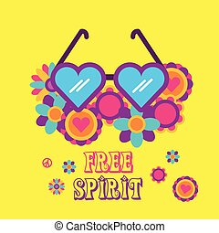 heart shaped glasses flowers hippie free spirit