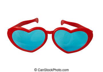 Heart shaped glasses - Novelty heart shaped glasses on white...