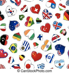 Heart shaped glossy flags of world sovereign states on white, seamless pattern