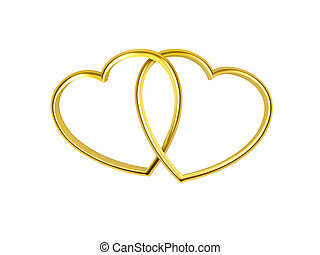 3D heart shaped golden rings on white background